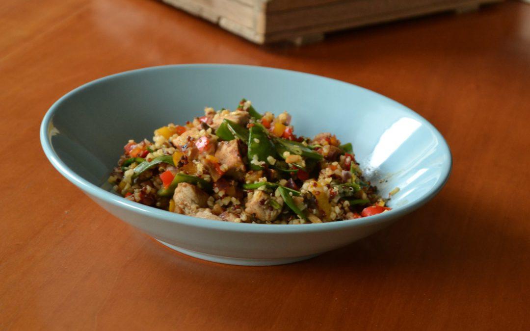 Quinoa met gebakken kalfsblokjes en groente