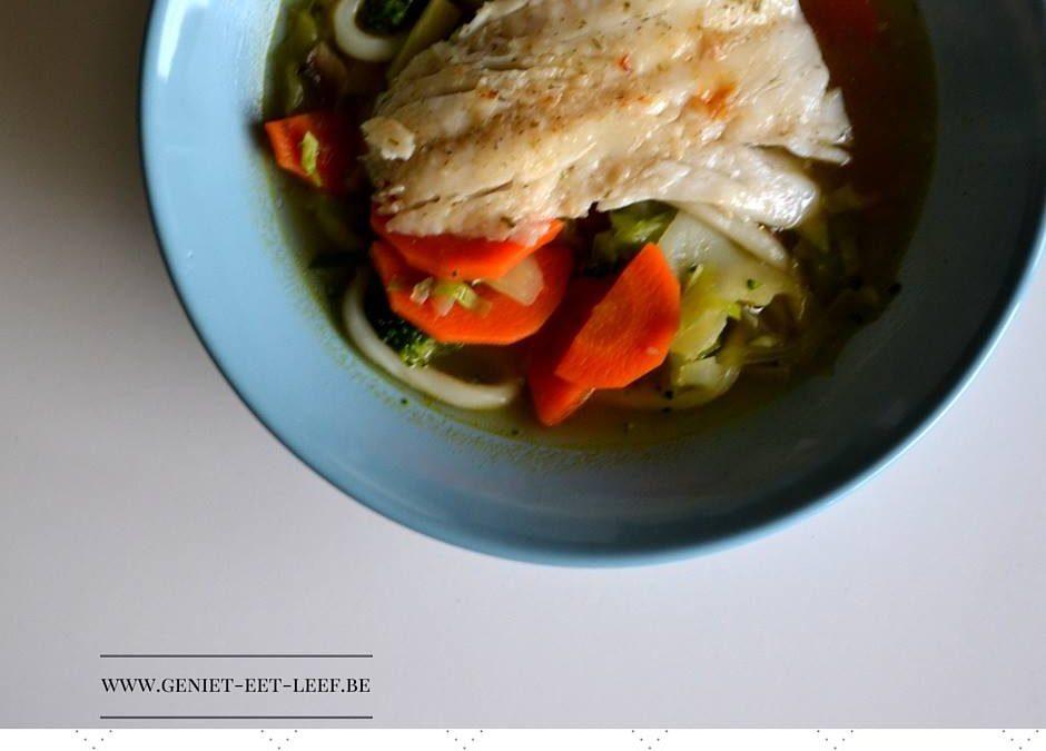 Slanke maaltijdsoep met kabeljauw