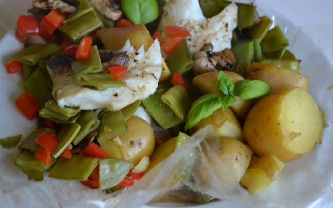 Vis, krieltjes en groentjes in de oven!
