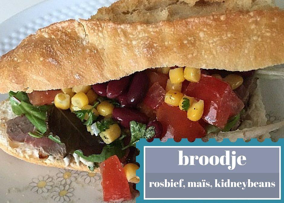 Broodje met rosbief, maïs, kidneybonen en nog zoveel meer!
