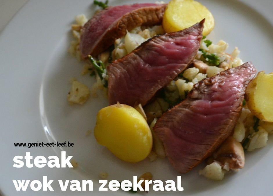 Steak met wok van bloemkool en zeekraal