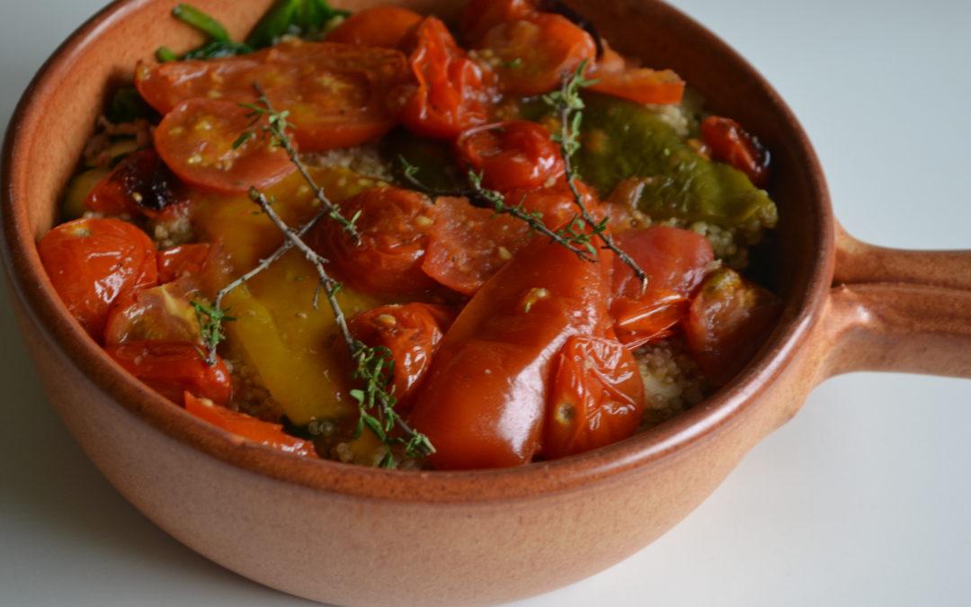 Ovenschotel van quinoa, paprika en kabeljauw